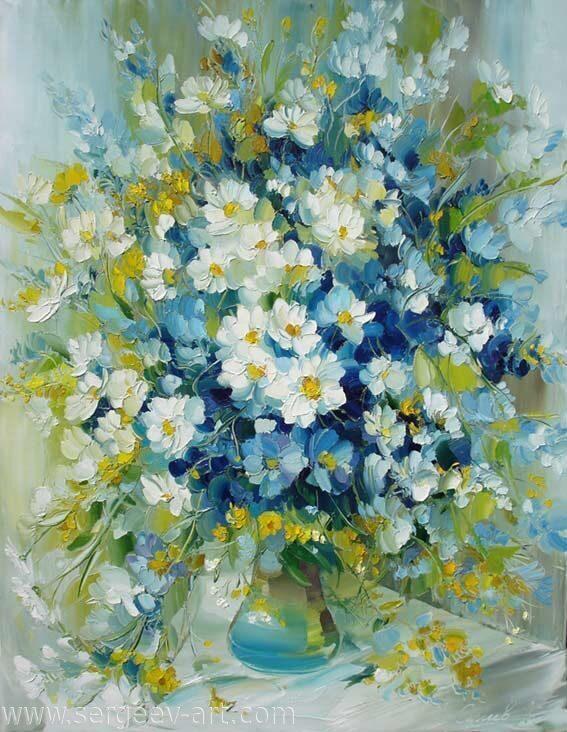 Картины цветы маслом мастихином