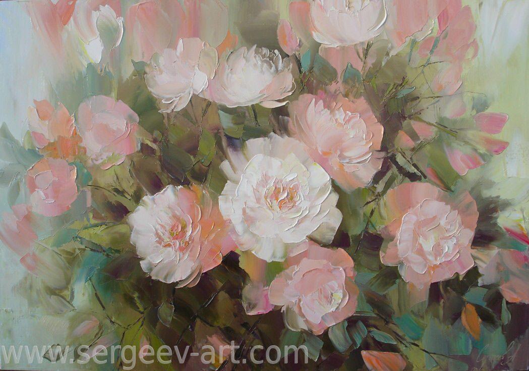 Картины цветы мастихином